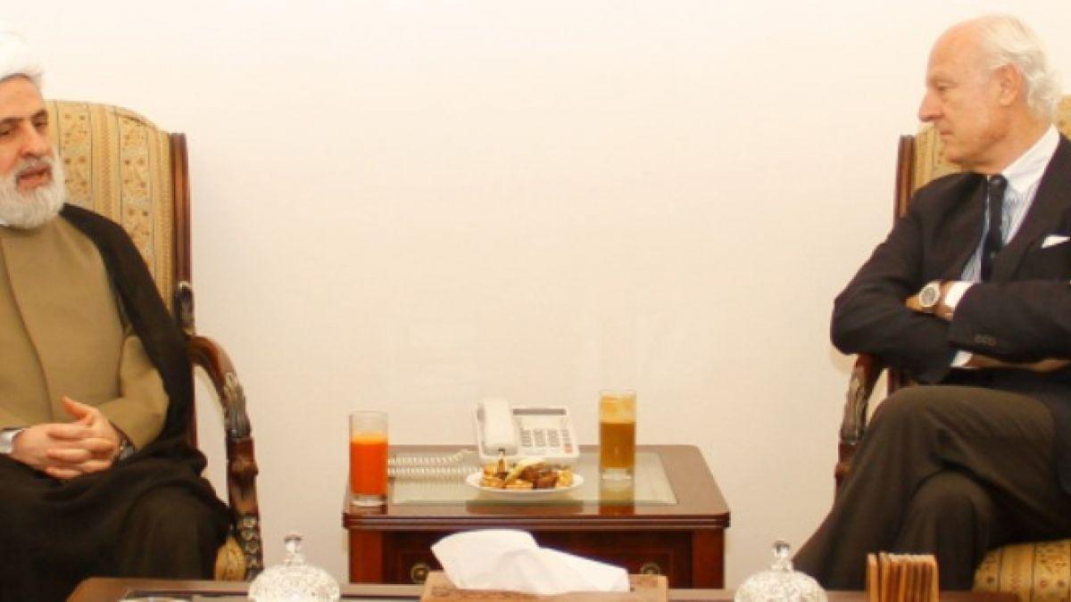لقاء الشيخ نعيم مع ستيفان دي ميستورا وبلامبلي 16-10-2014